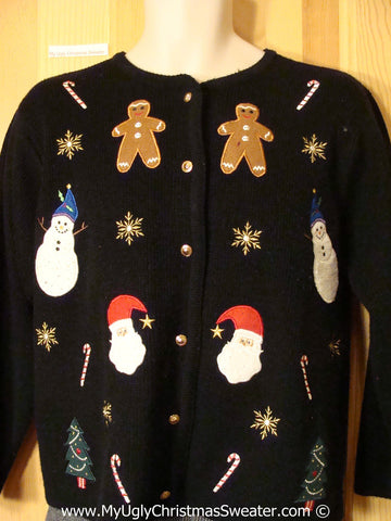 Tacky Christmas Sweater with Gingerbread Men and Bling (f1205)