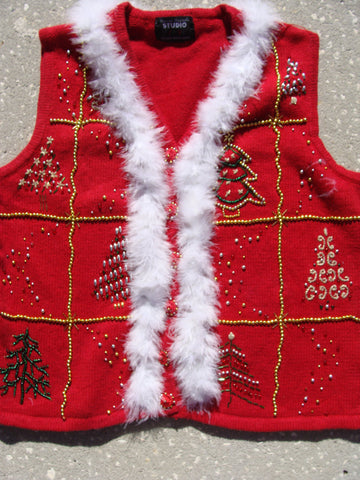 Tacky Christmas Sweater Vest with Bead Bling (f1207)