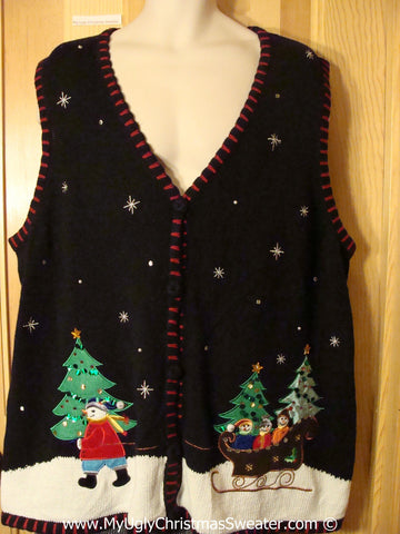 Tacky Christmas Sweater Vest Snowman Family Mens XXL (f1208)