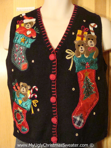 Tacky Christmas Sweater Vest with Bears Stockings and Bling (f1209)