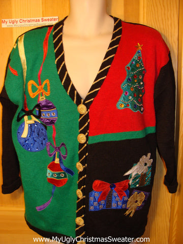 Tacky Ugly Christmas Sweater 80s Gem with Padded Shoulders and Over-The-Top Decorations  (f120)