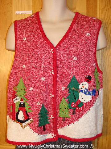 Ugly Christmas Sweater Party Vest with Penguin Sledding and Snowman Skiing (f1210)