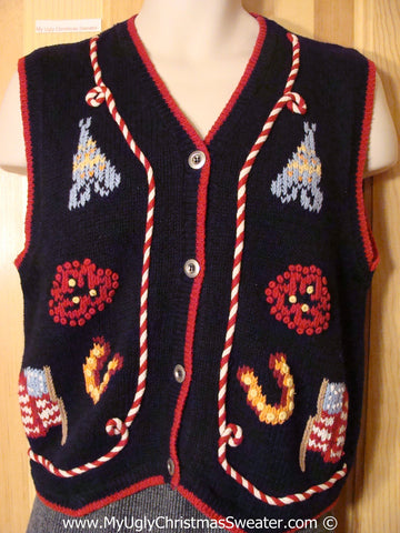 Tacky Christmas Sweater Vest Patriotic with CandyCane Piping (f1213)