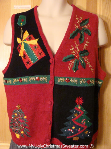 Tacky Christmas Sweater Bling Vest with Trees, Ivy, and Gifts (f1214)