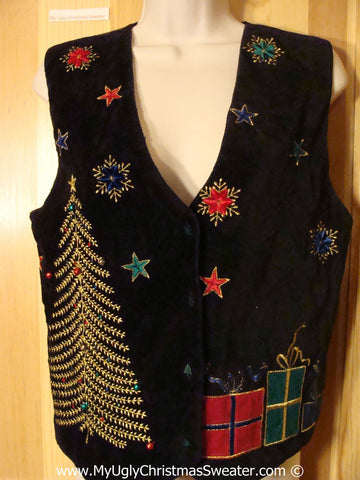 Tacky Velvety Vest with Bling Tree and Gifts  (f1217)