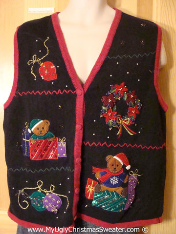 Tacky Christmas Sweater Vest with Bling Bears & Ornaments (f1218)