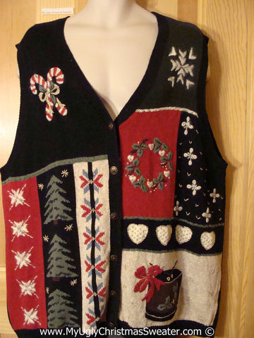 Tacky Vest with Crafty Patchwork Candycanes & Snowflakes  (f1220)