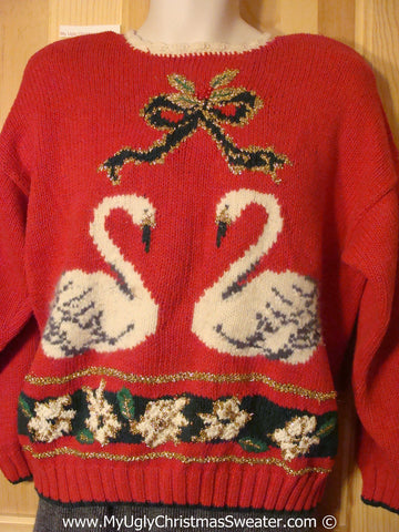 Tacky 80s Sweater Swans and Padded Shoulders (f1222)