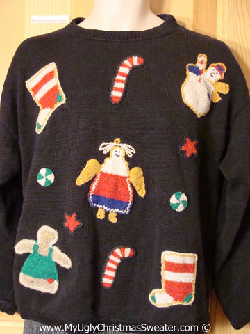 Tacky 80s Sweater with Candycanes & Toys (f1225)