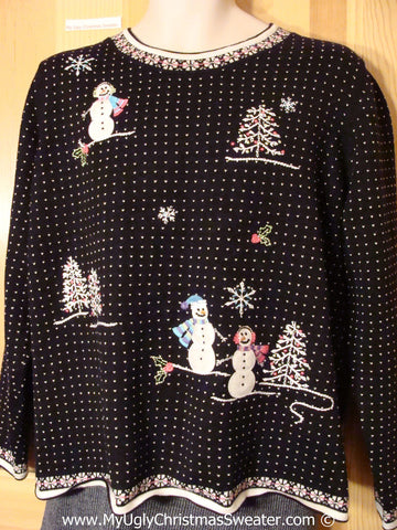 Tacky 80s Sweater Snow Scene and Padded Shoulders (f1227)