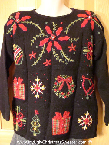 Ugly Christmas Sweater Party Sweater 80s Horrid Poinsettias & Padded Shoulders (f1229)