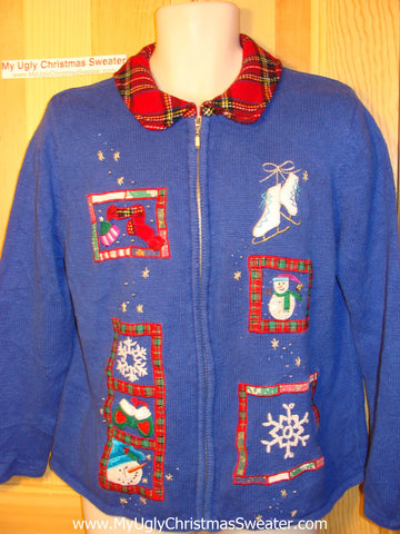 Tacky Ugly Christmas Sweater  Crafty Plaid Accents (f122)