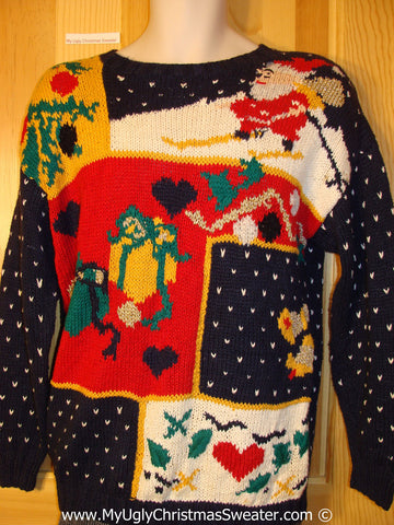 Tacky Christmas Sweater 80s Bold Patchwork Santa Gifts Hearts (f1230)