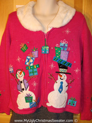 Ugly Christmas Sweater Party Pink Sweater 80s Snowman Couple w/ Gifts Furry Collar (f1233)