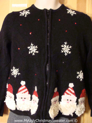 Tacky Christmas Sweater Furry Santa Heads and Snowflakes (f1234)