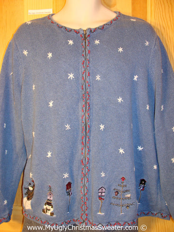 Tacky Christmas Sweater with Snowy WInter Decorations (f1235)