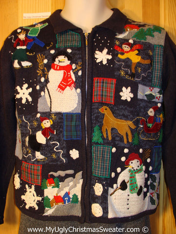 Tacky Christmas Sweater Busy Plaid Patchwork Designs  (f1236)