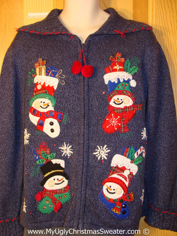 Tacky Christmas Sweater Four Snowman Friends and Stockings (f1237)