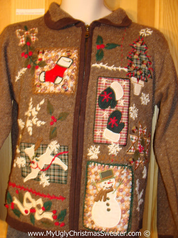 Tacky Brown Patchwork Themed Sweater (f1239)