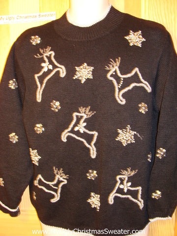 Tacky Ugly Christmas Sweater 80s Style Leaping Bling Reindeer (f123)