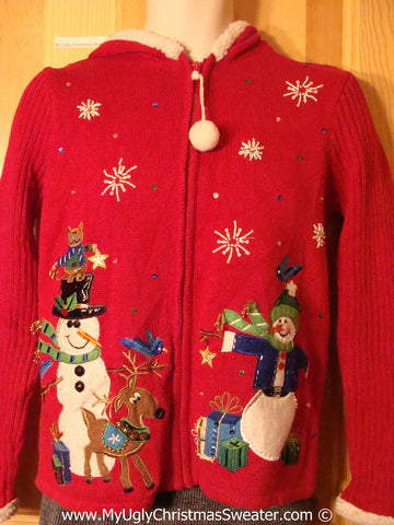 Tacky Christmas Sweater Hoodie Snowman Reindeer Cat (f1240)