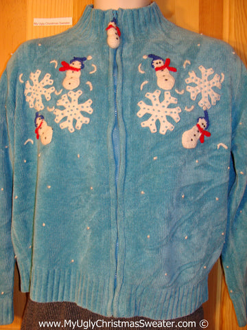 Christmas sweater with  2-Sided Design and Snowman Zipper Pull  (f1241)
