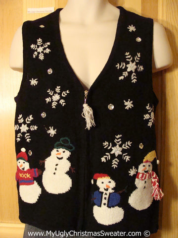 Tacky Christmas Sweater Vest Snowmen & Tassle Zipper Pull (f1242)
