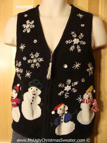 Ugly Christmas Sweater Sweater Vest with Snowmen, Snowflakes, Tassle Zipper Pull  (f1243)