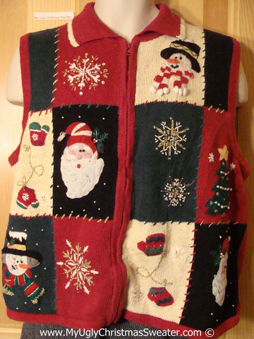 Tacky Patchwork Embroided Horrid Sweater Vest  (f1244)