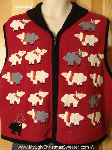 Tacky Christmas Sweater Vest Funny Sheep Family  (f1246)