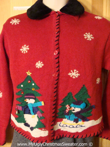 Ugly Christmas Sweater Party Sweater with Festive Snowmen Furry Collar (f1249)
