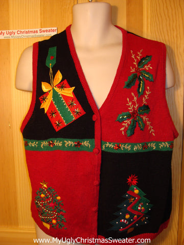 Tacky Ugly Christmas Sweater Vest with Gifts, Ivy and Trees. Bead Bling Accents (f124)