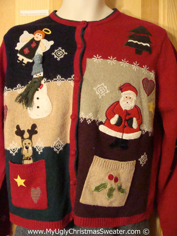 Tacky Christmas Sweater Crafty Patchwork Angel (f1250)