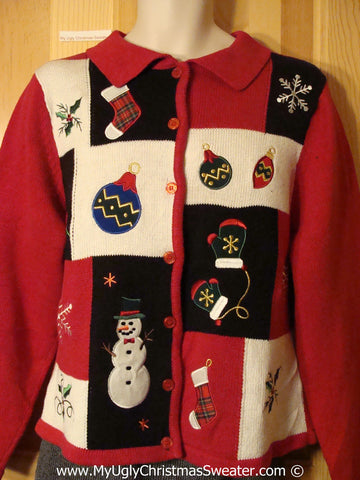 Ugly Christmas Sweater Party Grid Style Decorations  Sweater (f1253)