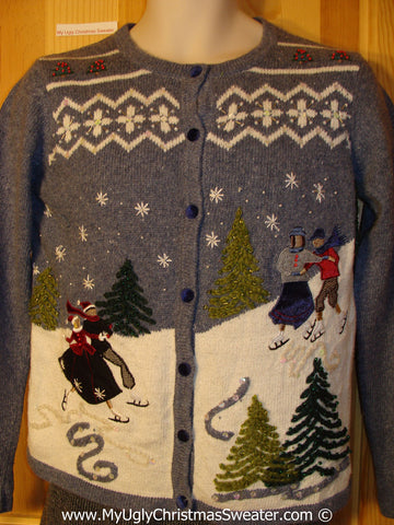 Tacky Christmas Sweater Skating Couples in Winter (f1256)