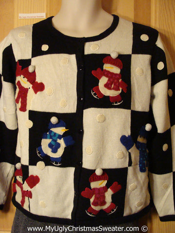 Tacky Christmas Sweater with Skating Snowmen (f1257)