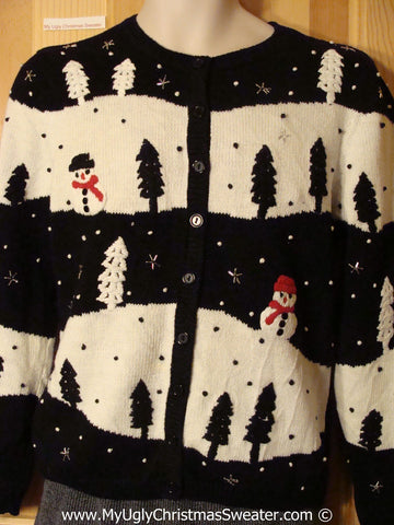Tacky Christmas Sweater Trees and Snowmen (f1258)