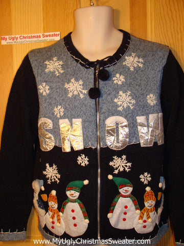 Tacky Ugly Christmas Sweater with SNOW and Family of Snowmen (f125)