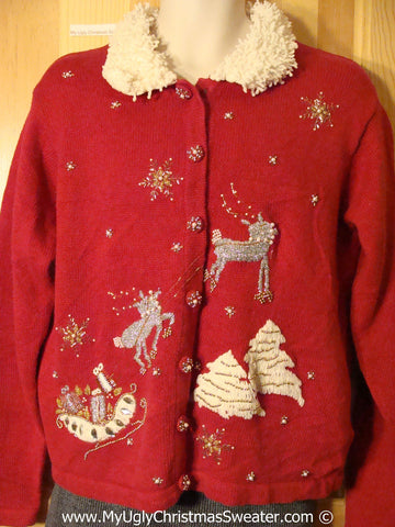 Tacky Christmas Sweater Bling Reindeer & Furry Collar (f1260)