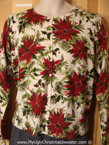 Ugly Christmas Sweater Party Cardigan with Massive Poinsettias All Over (f1261)