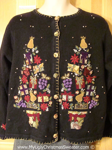 Tacky Christmas Sweater Huge Trees and Grapes (f1263)