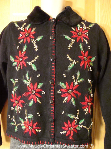 Tacky Poinsettias Cardigan Sweater (f1264)