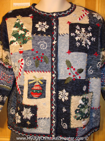 Ugly Christmas Sweater Party Crafty Blue Tacky Christmas Sweater (f1265)
