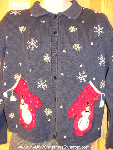 Ugly Christmas Sweater Party Real Mitten Pockets Tacky Christmas Sweater (f1267)