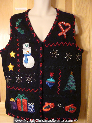 Ugly Christmas Sweater Party Zig Zag Embroidered Tacky Christmas Sweater  Vest (f1269)