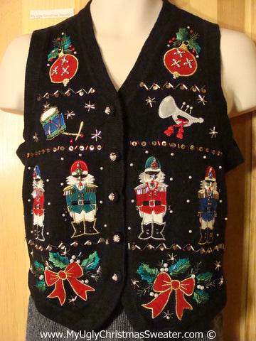 Ugly Christmas Sweater Party Nutcrackers and Bling Tacky Christmas Sweater Vest  (f1270)