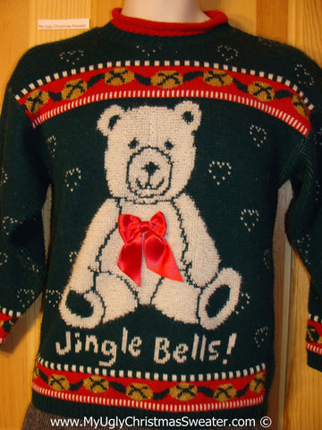 Tacky 80s Sweater Huge Bear and Bow (f1273)