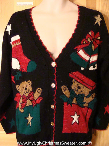 Ugly Christmas Sweater Party 80s Retro Bears Tacky Christmas Sweater (f1274)