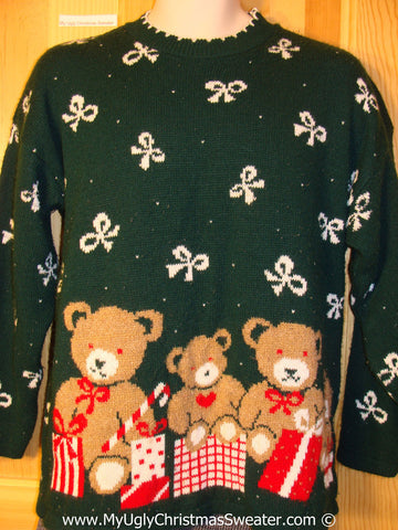 Ugly Christmas Sweater Party 80s Retro Tacky Christmas Sweater with Bears and Bows (f1275)