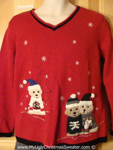 Tacky Christmas Sweater with Festive Dogs & Puppies (f1276)